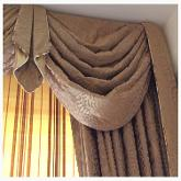 Swags & Tails made with Bronze Silk from James Brindley fabric