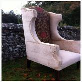 Large wingback covered in Swaffer's velvet and Jim Dickens