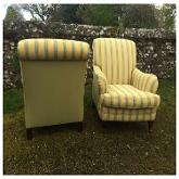 Pair of Modern Club Chairs covered with Marvic Fabric